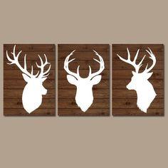 DEER Wall Art, CANVAS or Prints, Baby Boy Country Nursery Artwork, DEER Theme, Big Boy Bedroom, Antlers Rustic Decor Wood Plank, Set of 3