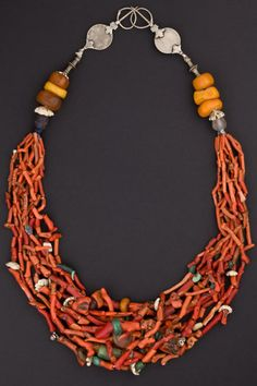 Africa |  Coral, amber and silver necklace from Morocco. Early to mid 1900s.