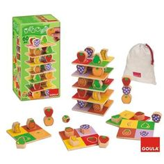 Goula - Torre frutas en caja de cartón, juego educativo (Diset 55199)