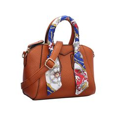 SheIn(sheinside) Brown Removable Strap PU Bag With Scarf ($26) ❤ liked on Polyvore featuring bags, handbags, tote bags, convertible handbag, tote handbags, brown tote handbags, tote purse and brown purse