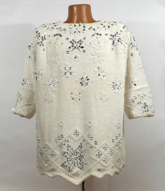 Oversized Sweater Vintage Beaded Sequins by purevintageclothing