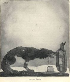"(John Bauer, ""Tyr and Fenrir,"" 1911)"