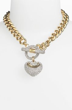 Juicy Couture Heart Pendant Necklace in Gold (gold/ clear crystal) - Lyst