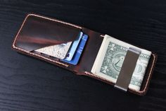 Mens Leather Wallet, Minimalist Wallet, Money Clip,Perfect gift for him / VD 048