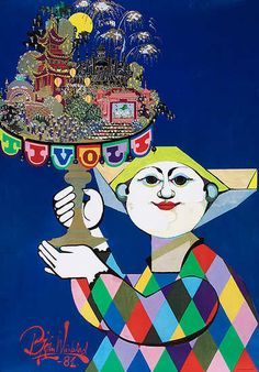 Tivoli Gardens Denmark Travel Poster Harlequin by Winblad -- What I would give to have this hanging in my home. Such amazing childhood memories.