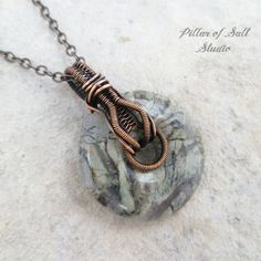 Silver Mist Jasper gemstone donut Copper wire wrapped pendant necklace - Pillar of Salt Studio.