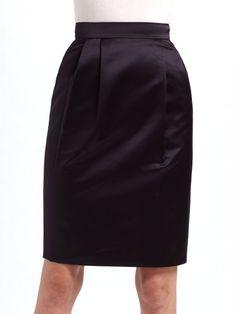 Moschino Cheap & Chic Purple Pleated Satin Pencil Skirt