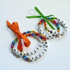 Rainbow Name Bracelet Personalized Children's Jewelry Set of 2 Bow Big Sister Little Sister Infant Child Kid Adult Sizes Stocking Stuffer. $6.50, via Etsy.