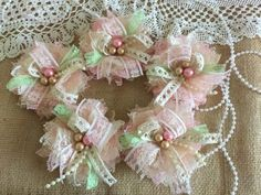 5 shabby chic lace pink, honey, ivory and light green color handmade flowers
