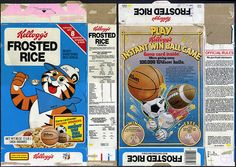 kelloggs cereal boxes | Kellogg's Frosted Rice cereal box - instant win ball game - 1981 ...