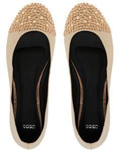ASOS LOVER Studded Toe Cap Ballet Flats