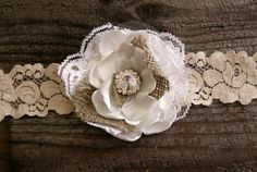 Burlap and Lace Vintage Flower Headband by BellaBabyB on Etsy, $12.95