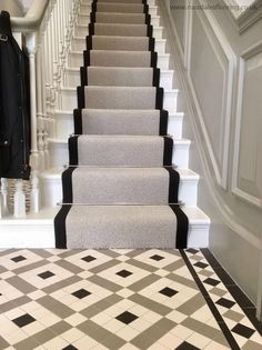 33 Awesome Painted Stairs Ideas To Beautify Your Interior - Painting a stairway will not only decorate the appearance of the stairs but will also enhance the appearance of your entire house. In case you are loo. Hall Tiles, Tiled Hallway, Hallway Flooring, Tiled Staircase, Tile Stairs, Front Hallway, Victorian Stairs, Victorian Homes, Victorian Terrace Hallway