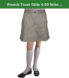 French Toast Girls 4-20 School Uniform Twill Pleated Skort (20, Khaki).
