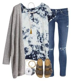 #summer #outfits / Birkenstock Sandals + Grey Cardigan
