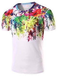 c6ecaec9ef18e 3D Abstract Printed Round Neck Short Sleeve T-Shirt For Men