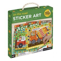petit collage on the road transportation sticker mosaic art Garbage Truck, Tow Truck, Fire Trucks, Collage, Cotton Rope, Ambulance, Mosaic Art, Little People, Colorful Backgrounds