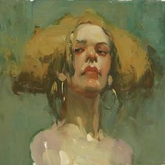 Milt Kobayashi {contemporary figurative abstracted #impressionist art female head woman face portrait smudged painting #loveart}