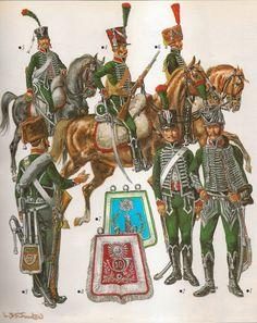 CAZADORES A CABALLO ( 1800 - 1804)                Nº 1 .- Jefe de escuadrón del 10º                Nº 2 .- Cazador del 2º regimiento de gala, 1801 -1803.               Nº 3 .- Cazador de la compañia de élite del 22º regimiento ,en traje de campaña ,1803.               Nº 4 .- Cazador del 1º regimiento en 1801.               Nº 5 .- Cazador del 11º regimiento en 1801, segun un gouache de la epoca.               Nº 6 .- Compañia de élite en 1803.