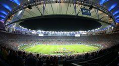 ANGULAR. Una vista del estadio Maracana durante el partido entre la seleccion Argentina y Bosnia. (Marcelo Genlote)