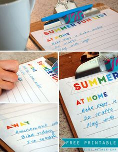 Free printable Summer Fun List, in both PDF and editable Word format