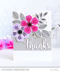 Handmade card from Kay Miller featuring the Flashy Florals Card Kit #mftstamps