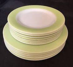 Vintage PYREX Dinnerware Lime Stripe Retro 1950's Dinner & Salad Plates
