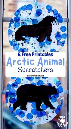 This Arctic Animal Suncatcher Craft is a gorgeous Winter craft for kids. Hang them in  a window or from the ceiling and they look super pretty when the light shines through them. (6 free printable polar animal silhouettes to choose from.) | Winter crafts for kids #kidscraftroom #arctic #arcticanimals #wintercrafts #suncatcher #suncatchers #kidscrafts #polarcrafts #arcticcrafts #winterart Winter Activities For Kids, Winter Crafts For Kids, Winter Kids, Winter Art, Winter Crafts For Preschoolers, Artic Animals, Animal Crafts For Kids, Polar Animals Preschool Crafts, Kids Crafts