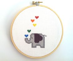Elephant Cross Stitch finished and framed in by LivCreatively