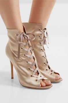 Heel measures approximately 100mm/ 4 inches Taupe satin Lace-up front Designer color: Praline Made in Italy
