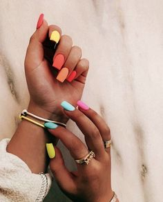 In seek out some nail designs and some ideas for your nails? Here's our set of must-try coffin acrylic nails for modern women. Summer Acrylic Nails, Best Acrylic Nails, Summer Nails, Cute Spring Nails, Spring Nail Colors, Pastel Nails, Nail Swag, Aycrlic Nails, Hair And Nails