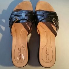 Rockport Sandals Black Rockport Sandals. Sz. 9.5M. Leather Upper, rubber bottom. Functional buckle for width adjustment. Like new; wore one time. Rockport Shoes Sandals