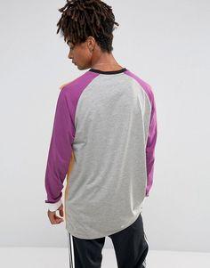 ASOS Longline Long Sleeve T-Shirt In Color Block - Tan
