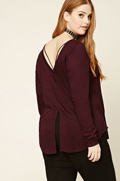 Forever 21+ - A knit top featuring a split back, crisscross strappy back, round neckline, long sleeves, and a curved hem.