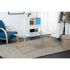 Table basse verre et bois scandinave; 149€