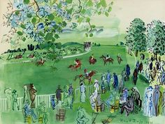 Raoul Dufy,The Race Course At Ascot oil painting reproductions for sale Manet, Renoir, Matisse, Illustrations, Illustration Art, Art Fauvisme, Raoul Dufy, Modernisme, Georges Braque