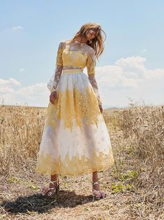 Explore our official website and discover the latest Ready to Wear Collections by Christos Costarellos Elegant Dresses, Pretty Dresses, Beautiful Dresses, Short Dresses, Prom Dresses, Summer Dresses, Boho Wedding Guest Outfit, Yellow Fashion, Feminine Dress