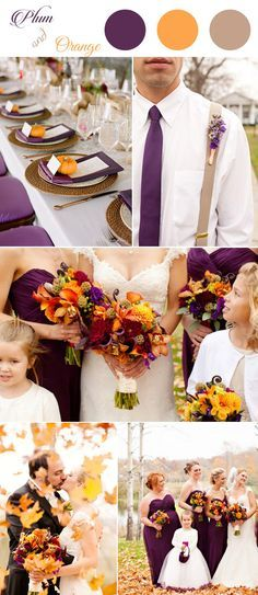 2019 Brides Favorite Purple Wedding Colors---plum and orange fall and autumn wedding colors, wedding bouquets, doy wedding centerpieces, bridesmaid dresses Wedding Centerpieces, Wedding Bouquets, Wedding Flowers, Wedding Decorations, Stage Decorations, Flower Bouquets, Fall Wedding Colors, Wedding Color Schemes, Autum Wedding