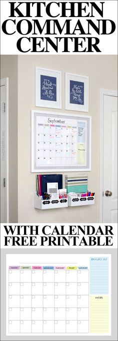 Kitchen command center with a calendar printable! The entire thing cost less than $75!