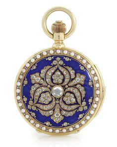 MARCKS & CO LTD, AN 18K YELLOW GOLD, DIAMOND, ENAMEL AND PEARL-SET HUNTING CASED MINUTE REPEATING KEYLESS WATCH MADE FOR THE INDIAN MARKET, CIRCA 1895