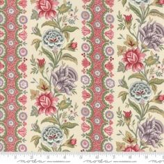 Jardin De Versailles Cream Stripe Floral Fabric-End of Bolt x by French General - Moda Fabrics French General Fabric, French Fabric, Floral Stripe, Floral Fabric, Versailles Pattern, Handi Quilter, Tree Quilt, Sewing Art, Basic Grey