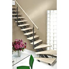 Escalier quart tournant Escatwin, marches bois / structure aluminium gris