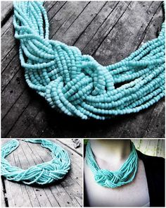 DIY Turquoise Knot Necklace for 3 bucks! You could use any color!!