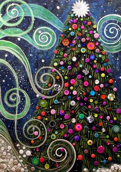 Button tree 0012-Holiday Painting by Monica Furlow - Button tree 0012-Holiday Fine Art Prints and Posters for Sale
