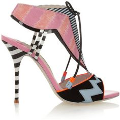Sophia Webster Leilou Stripe leather, suede and canvas sandals