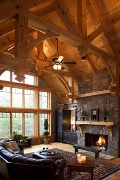 My idea of a Living Room except with Austin Stone Fireplace
