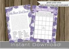 Baby Shower Games Bingo and Word Search Cards purple hydrangea flowers girl INSTANT DOWNLOAD diy digital printable files , babyshower on Etsy, $8.00