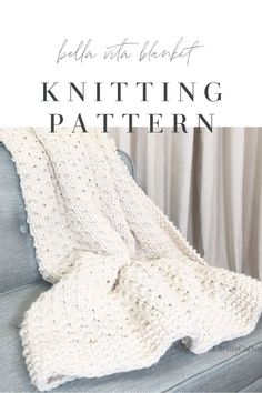 Bella Vita Blanket is an easy, beginner friendly knitting pattern. Featuring a classic seed stitch border and a simple 4 row repeat with just knits and purls. Modern Crochet Patterns, Loom Knitting Patterns, Free Knitting, Knitting Looms, Knitting Tutorials, Free Crochet, Knit Crochet, Easy Knit Blanket, Knitted Blankets