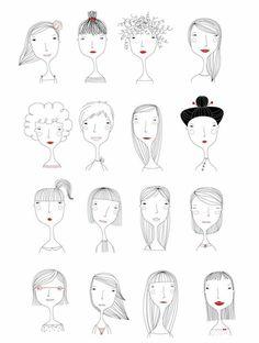 Elichkata ladies diy アート, character illustration, hair illustration, people illustration, line art Art And Illustration, Illustration Mignonne, People Illustration, Illustrations, Character Illustration, Doodle Drawings, Doodle Art, Easy Drawings, Painting & Drawing