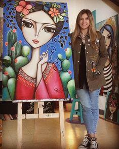 """Tiempo al tiempo,cada huellairá encontrando suarena,cadabeso deteniendo un momento, ycada canción matando una pena"". 🌼🌺🌻🌵 #fridakahlo  Nueva obra. 80 x 1.20. . . . .  #SoyRomiLerda  #bohofanatic #frida #cactus #womanart #Argentina #italia #españa #colombia #mexico #miami #brasil #chile #uruguay #arte #art #galeriadearte #galleryart #love #occhi #eyes #ojos #woman #donna #obrasdearte #arteargentina #canvas #artwork #painting Arte Latina, India Art, Bohemian Art, Whimsical Art, Art Plastique, Face Art, Art Pictures, Painting & Drawing, Art For Kids"